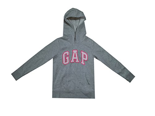 - GAP Girls Fleece Arch Logo Pullover Hoodie (Large, Grey (White Logo))