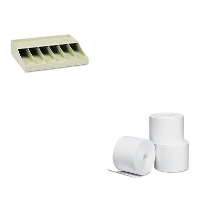 KITMMF210470089UNV35762 - Value Kit - Universal Single-Ply Thermal Paper Rolls (UNV35762) and MMF Bill Strap Rack (MMF210470089)
