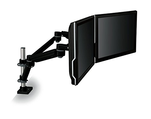 3M Easy Adjust Desk Mount Dual Monitor Arm, Adjust Height, Tilt, Swivel and Rotate by Holding and Moving Monitor, Free Up Desk Space, Clamp or Grommet, For Monitors to 20 lbs <= 27