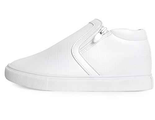 Mnx15 Hommes Ascenseur Chaussures Hauteur Augmentation 2.4 Mario Blanc Wedge Sneakers Haut Talon Espadrilles Blanc