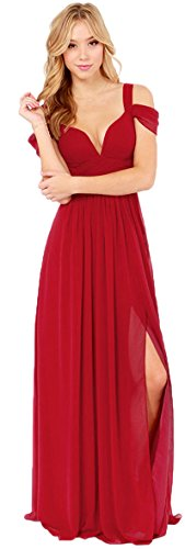Lovelelify Women's Chiffon Sleeves Bridesmaid Evening Party Maxi Dress Red Large