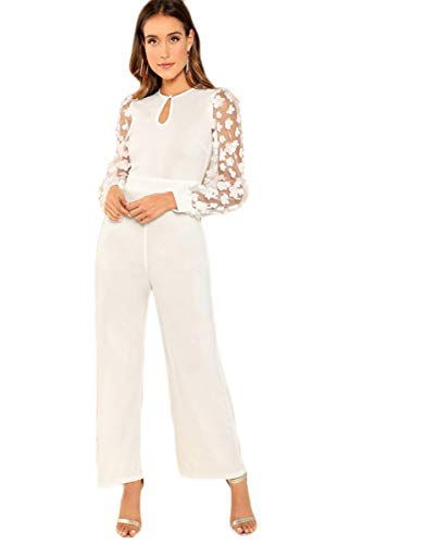(MAKEMECHIC Women's Keyhole Front Flower Applique Mesh Sleeve Flared Jumpsuit White S)