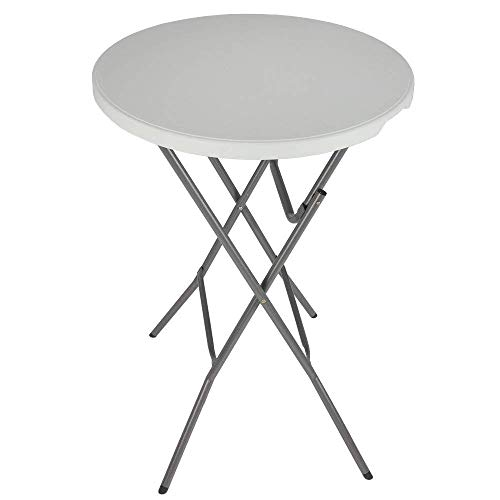 "Palm Springs 32"" Round White Plastic 43"" High Folding Bar Table Cover (Black) For Sale"