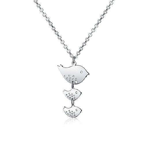 Pod Bird (Rosa Vila Family Bird Necklace - Three Birds Family Inspired Necklaces For Women (Silver Tone))