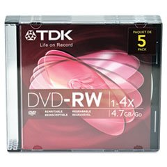 TDK48425 - DVD-R Rewritable Discs with Jewel Cases