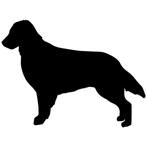 Set of 3 - Flat-Coated Retriever Dog Decal Sticker Color: Black- Peel and Stick Vinyl Sticker