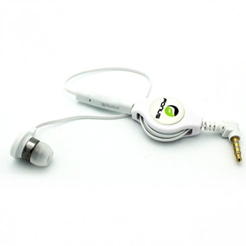 Headset White Hands Free (White Retractable In-Ear Mono Headset Wired Single Earbud Earphone with Microphone for Cricket Nokia Lumia 520, Cricket Nokia Lumia 630, Cricket Nokia Lumia 635, Cricket Samsung Galaxy Grand Prime, Cricket Samsung Galaxy S3 SCH-R530C)