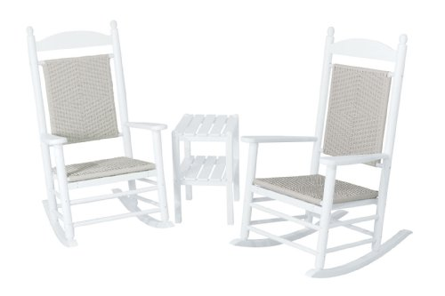 (POLYWOOD PWS141-1-FWHWL Jefferson 3-Piece Woven Rocker Chair Set, White Frame/White Loom)