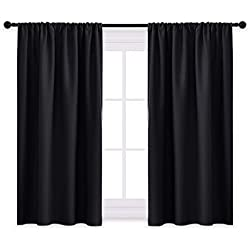 PONY DANCE Window Blackout Curtains - Nursery Drapes Thermal Insulated Window Treatments Light Block Short Curtain Panels Rod Pocket for Small Window, W 42 x L 54 inches, Black, One Pair