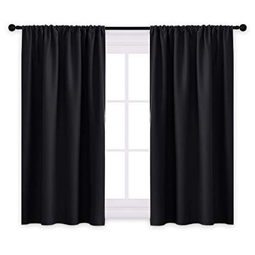 Curtain Window Black (PONY DANCE Bedroom Blackout Curtains - Light Block Solid Soft Rod Pocket Energy Efficient Thermal Insulated Blackout Curtain Panels/Window Drapes for Home Decor, 42 by 45 in, Black, 2 Pieces)