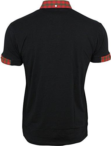 Décontracté Boutonné Col Mod Noir Chemise Ska Rouge Ecossais Hommes Relco Polo Peau qvwBHp
