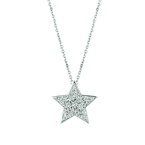 White Gold Diamond Star Necklace - 14K White Gold Diamond Star Necklace - 0.25ctw. Diamond