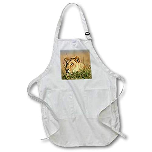 Maasai Mara National Reserve White - Full Length Apron with Pockets Female Lion 3dRose Kenya 22 by 30-Inch apr/_207591/_1 Panthera Leo