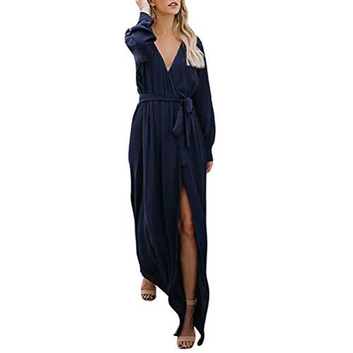 Mujer Grandes Azul Mujer para Fiesta Marino POLP Larga Manga Vestidos Mujer Casual Vestidos Tallas Cinturones de Invierno Vestidos Tallas 2018 Vestidos Grandes otoño 2018 Verano Vestidos Vestidos de FFqSZCntxw