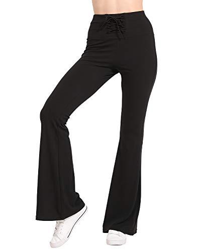 CHRLEISURE Women Winter Velvet Flare Pants - High Waisted Palazzo Wide Leg Pants, Loose Drawstring Bootleg Pants Pure Black L ()