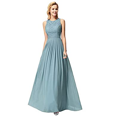 Vestido fiesta largo azul empolvado