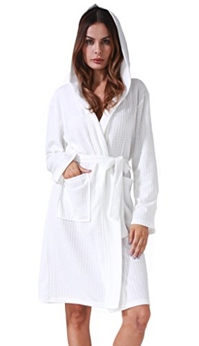 Costyleen Women Men Hotel Spa Waffle Weave Kimono V Neck Sleepwear Bathrobe Hooded White XXL