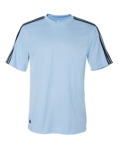 Three Stripes Golf T-shirt - adidas A72 Mens ClimaLite 3-Stripes T-Shirt - Argentina Blue & Black, 2XL