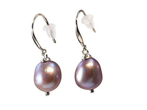 HinsonGayle AAA Handpicked 9-9.5mm Lavender Baroque Freshwater Cultured Pearl Dangle Earrings Silver