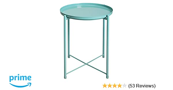 54f66c7658de HollyHOME Tray Metal End Table, Sofa Table Small Round Side Tables,  Anti-Rust and Waterproof Outdoor & Indoor Snack Table, Accent Coffee Table,(H)  20.28