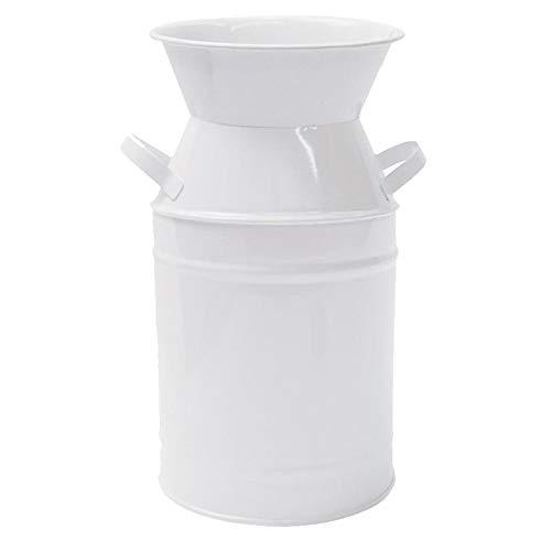 IDoall 7.5 High Elegant White Decorative Vases. Galvanized Milk Can for Dried Flower Arrangements Home Office Decor