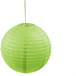 3PACK Round 12-Inch Paper Lantern Hanging Decoration Lamp with Metal Frame for Every Occasions (Lime Green)