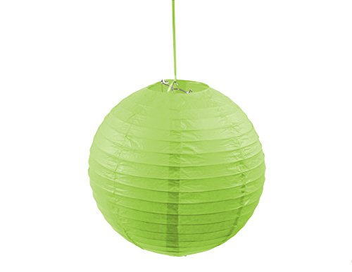 3PACK Round 12-Inch Paper Lantern Hanging Decoration Lamp with Metal Frame for Every Occasions (Lime Green) (Green Lime Lamp)