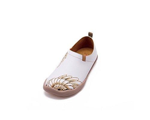 UIN Women's Rhea Art Printed Leather Flats White FCdPdf3