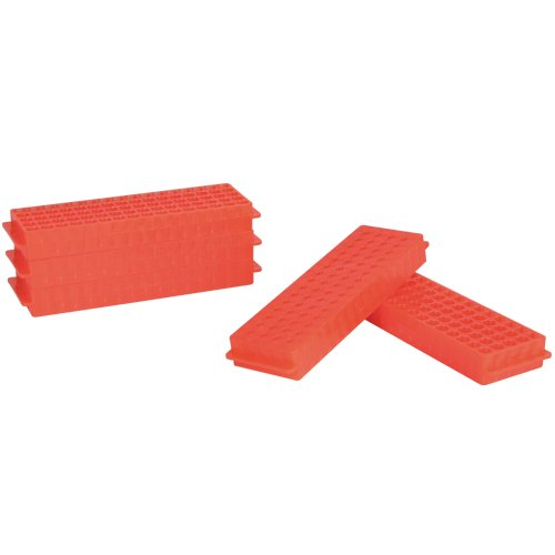Bel-Art F18845-0015 Reversible PCR and Microcentrifuge Tube Rack; 0.2ml or 1.5-2.0ml, 80 Places, Polypropylene, Fluorescent Orange (Pack of 5)
