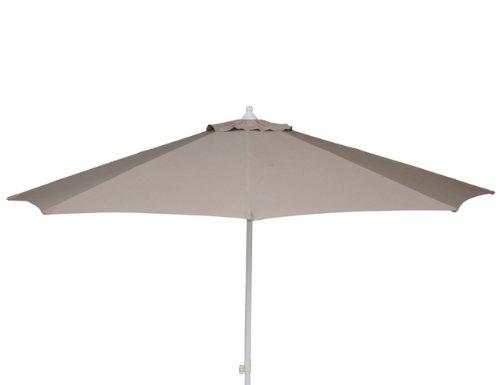 Siena Garden 800676 Sonnenschirm Push Up, Durchmesser 300 cm, Aluminiumgestell silber, Bezug Polyester taupe
