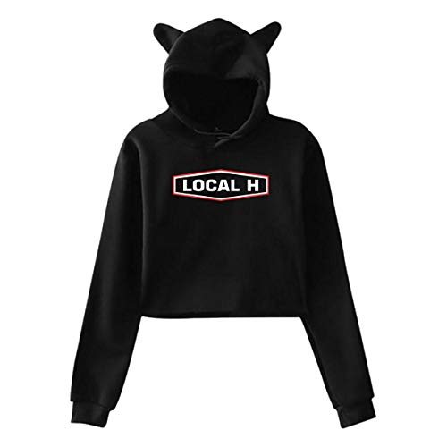 DoohcwBDJ Local H Logo Women's Music Cat Ear Hoodie Sweater Stylish Artistic Long Sleeves Cute Hoodie Outwear Black XXL