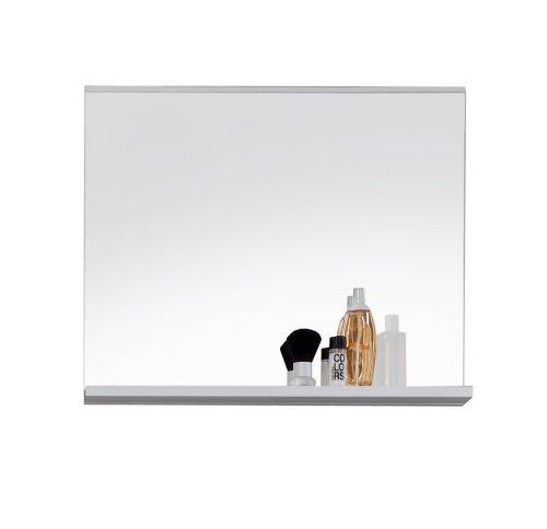 Trendteam MZ40101 Badspiegel Wandspiegel mit Ablage weiss Dekor, Glas BxHxT 60x50x10 cm