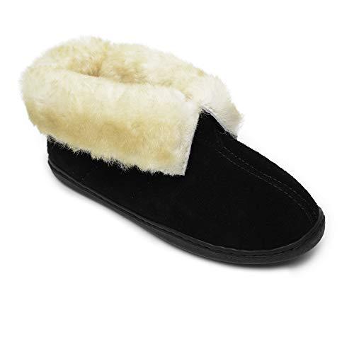 Minnetonka Women's Sheepskin Ankle Boot - Black US 10 M