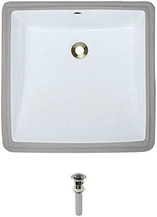 U2230-White Undermount Porcelain Bathroom Sink Ensemble, Brushed Nickel Pop-Up Drain