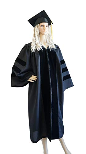 GRADWYSE Doctoral Cap and Gown for PhD Graduates Common Fit Unisex Black 51 (Fit 5'6