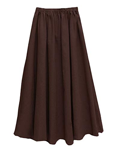 Solid Long Cotton - Soojun Women's Solid Cotton Linen Retro Vintage A-line Long Flowy Skirts, Brown, X-Large Average