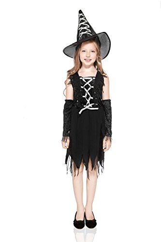 Kids Girls Dark Fairy Costume Little Witch Sorceress Halloween Outfit & Dress Up (6-8 years, Black)