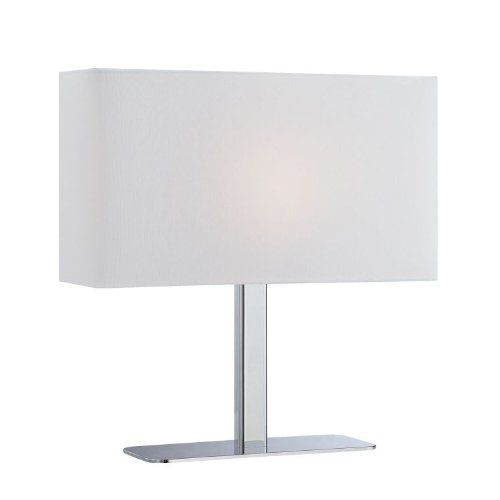 Lite Source LS-21797C/WHT One Light Table Lamp, Chrome Finish with White Fabric Shade