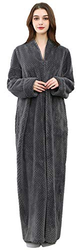 Foucome Womens Fleece Robe Long Soft Zip-Front Bathrobe with Two Side Pockets Gray M/Label XL
