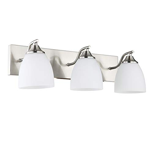 OSTWIN 3-Light Bath Bar Light Up or Down, Interior Bathroom Vanity Wall Lighting Fixture VF42, 3x60 Watt E26 Socket, Satin Nickel Finish with Opal Oval Cone Glass Shade, UL ()