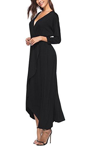 YACUN Damen In Lange Beach Party Kleid 3 / 4 Ärmel Ein Hemd Black ...