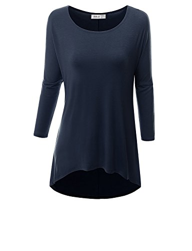 Doublju Womens Round Neck Long Sleeve Comfy Navy Active Tunic Top,3XL