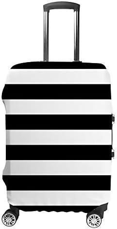 スーツケースカバー トラベルケース 荷物カバー 弾性素材 傷を防ぐ ほこりや汚れを防ぐ 個性 出張 男性と女性黒と白のストライプ