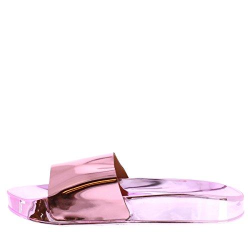 Donna Cursori Moda Viva Scivolare Rosa 40 PN0146 su Estate Piatto Scarpe Metallico Specchio 7UK d8fgCq