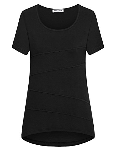 Becanbe Short Sleeve Shirts for Women, Women's Business Casual Clothes Loose Fitting Short Sleeve Ruched Cotton Soft Breathable Tunic Topss(Black,X-Large) by Becanbe