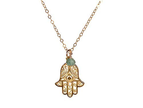 Hamsa Necklace - Hand Filigree Charm Pendant Necklace with Light Blue Stone by Efy Tal Jewelry
