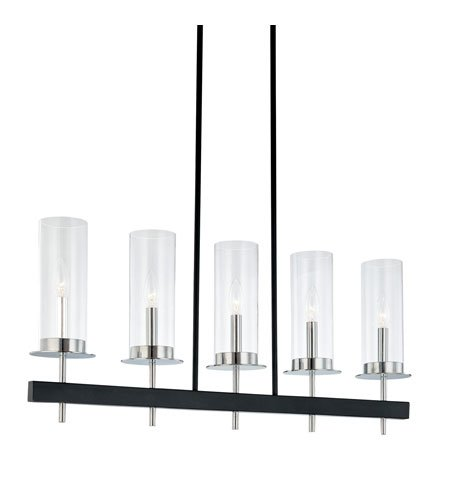 Sonneman 4065.54, Tuxedo Glass 1 Tier Chandelier Lighting, 5 Light, 100 Watts, Chrome/Black