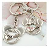 Disney's Inspired Romantic Minnie and Mickey Couple Keychain with Clear Crystals Metal for Boy Girl Couple Lovers Key Chain Ring Silver Key Ring Chain