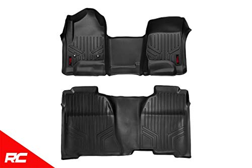 Rough Country Floor Liners Compatible w/ 2014-2018 Chevy Silverado GMC Sierra Crew Cab Full Console Front/Rear