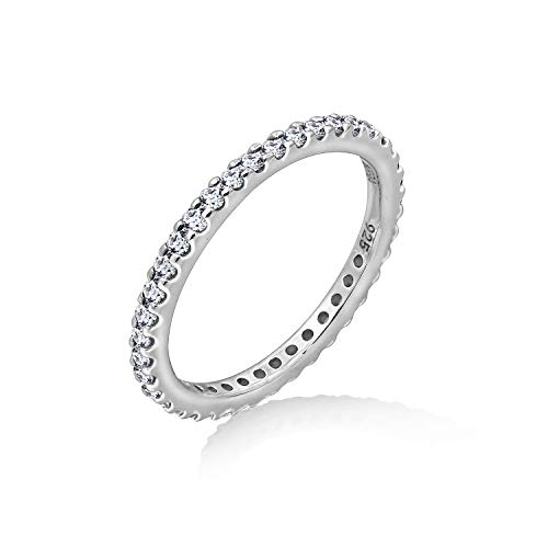 J'ADMIRE 1 Carat Swarovski Zirconia Clear Round Cut Eternity Band Ring Size 6, Platinum-Plated Sterling Silver